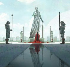 Statue von Kora der Heiligen in Enderal Fantasy City, Fantasy Kunst, Fantasy Places, Fantasy Story, Sci Fi Fantasy, Fantasy World, Dungeons And Dragons, Art And Illustration, Illustrations