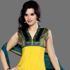 Bright #Yellow Net #Anarkali Churidar Kameez Online Shopping: KYC1093