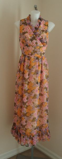Vintage 1970s Its Better Floral Chiffon Evening Bridesmaid Gown on Etsy, $85.23 CAD