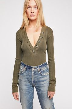 Browse Free People's wide selection of tops for women. Choose from these stylish and comfortable white lace tops, off the shoulder tops, and more! Free People Store, Ribbed Top, Tees For Women, Plunging Neckline, Lace Tops, Stitch Fix, White Lace, Dandelion, Dressing