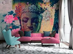I like the bold pastel look of this office space, and the subtle spiritual theme.