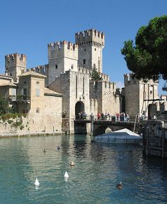 The 13th-century SCALIGER CASTLE,   Sirmione, Brescia, Lombardy, Italy