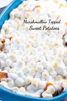 Sweet Potatoes with Marshmallows feature canned sweet potatoes, butter, brown sugar, and mini marshmallows. A traditional Thanksgiving side dish.