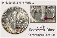 Identify No Mintmark on Philadelphia Silver Roosevelt Dimes Rare Coin Values, Silver Value, Penny Values, Old Coins Value, Rare Pennies, Old Coins Worth Money, Valuable Coins, Silver Dimes, Error Coins