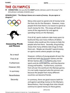 Olympics, English, Learning English, Vocabulary, ESL, English Phrases, http://www.allthingstopics.com/olympics.html
