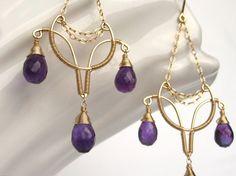 Reserved for Jo: Royal Grace 14K Gold Fill EarringsAmethyst.