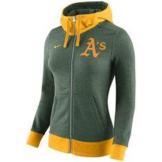 Oakland Athletics Nike Women's MLB Logo Blended 1.4 Full Zip Hoodie - Green