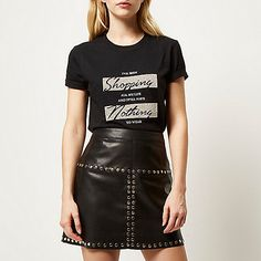 Black textured shopping print t-shirt