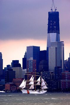 U. S. Coast Guard Tall Ships for training.  Here is one at NY Harbor.