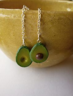 Avocado Polymer Clay Earrings by apricotfox on Etsy, $10.00 by Caroline Fox #polymer #clay #avocado #earrings #jewelry