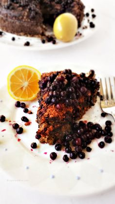 Lemon Sour Cream Cake with Cacao Nibs & Wild Blueberries from Canned-Time.com  - #vegan, #gluten-free #vegandesserts #veganfoodporn #healthy...