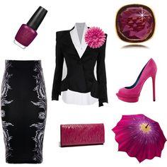 BLISS! Magenta with Peplum Jacket & Pencil Skirt ... 100% Class <3