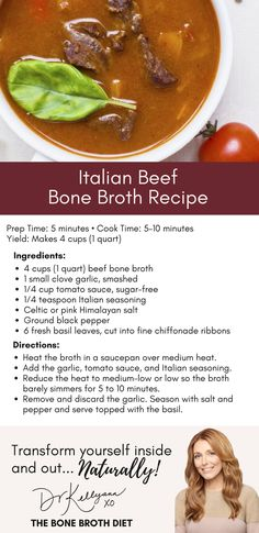 One of my favorite ways to get more #bonebroth into my diet! Try this rich, delicious, Italian-grandmother-approved Italian Beef Bone Broth Recipe.