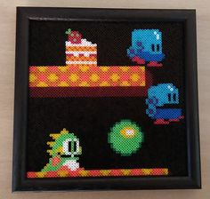 Bubble Bobble - Framed Perler Bead Picture by PixelBeadPictures