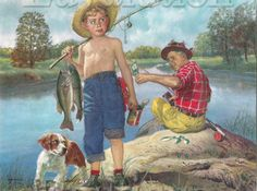 """""""Fishing Boy"""" (Date unknown), by American artist and illustrator - Frances Tipton Hunter Watercolor, Dimensions unknown, Owner/Location unknown. Vintage Children Photos, Boy Illustration, Boy Fishing, Trailer, Norman Rockwell, Boy Art, Kids Cards, American Artists, Belle Photo"""