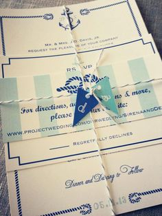 Nautical Wedding Invitation suite with rope border and anchor, tied with nautical flag tags RESERVED