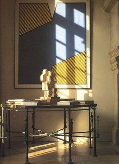 Hubert De Givenchy DIEGO GIACOMETTI OCTAGON TABLE WITH A JACQUES LIPCHITZ SCULPTURE- ABOVE HANGS A PAINTING BY KROUCHNIK