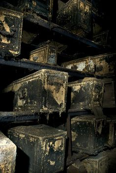 """London West Norwood Catacombs: Note """"hobnail"""" line patterns on velvet covered (now rotting away) coffins."""