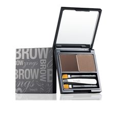 brow zings by Benefit.  It is smudge-proof.  Even lasts through a swim!  Comes with a tinted wax to shape and a powder to set, mini tweezers and two brow brushes- one for shaping and one for blending.  Can't beat it.