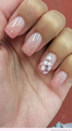 Elegant flower nail art and glitter tips