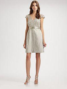 Kay Unger V-Neck Lace Dress