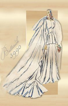 Butterick 3990 1940s Bridal Gown with Tunic by FloradoraPresents