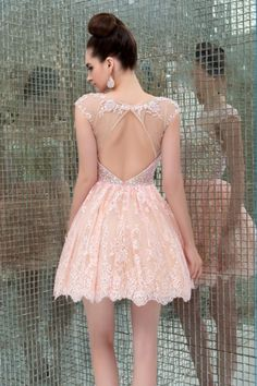 2015 Scoop Neckline Open Back A Line Tulle And Lace Short/Mini Homecoming Dresses - Homecoming Dresses $169.99