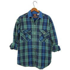 Vintage Plaid Shirt 90s Blue Green Grunge Boyfriend Top Denim Collar... ($28) ❤ liked on Polyvore featuring tops, green shirt, long sleeve button down shirts, blue button up shirt, green long sleeve shirt and blue shirt