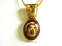 Hand Painted Yorkie Dog Cameo Carnelian Gemstone 14 kt GF Pendant SylCameoJewelsStore