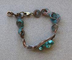 Larimar Pod Bracelet Small Larimar Nuggets in Copper Wire Pod