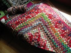 variegated granny square crochet, love the colors