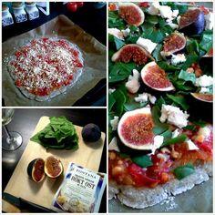 Pinaatti-savufeta-viikunapizza, gluteeniton pohja. NAM!