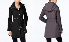MICHAEL Michael Kors Faux-Leather-Trim Trench Coat