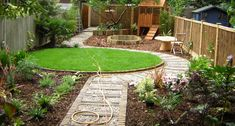 Long, thin backyard: homeowner gardener, large flower beds filled with cottage favourites such as Poppies, Lavender and Day Lilies flank the path that leads around the circular lawn leading to the children's play area.