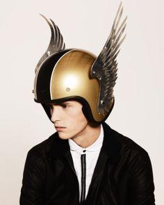 Gold winged motorcycle / vespa / scooter helmet | #ridesafe #protectyourpumpkin #wings