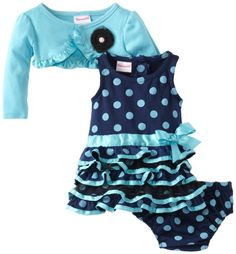 Amazon.com: Nannette Baby-Girls Newborn 3 Piece Dotted Ruffle Dress Set: Clothing