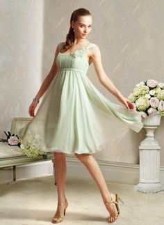 pink and sage  Elegant A-Line/Princess Scoop Neck Knee-Length Chiffon Charmeuse Bridesmaid Dress With Ruffle (007004129)