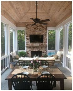 Screened Porch Design Ideas to Help You Backyard Plan Part 44 - Modern Screened Porch Designs, Screened In Porch, Screened Porch Decorating, Enclosed Porches, Screened Porch Furniture, Back Porch Designs, Sunroom Furniture, Decks And Porches, Outdoor Furniture