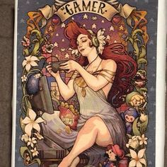 Gamer Nouveau by Medusa Dollmaker counted cross stitch kit. This stunning kit has been stitched by N. Brown on 25 count magic guide 1x1. Doesn't she look incredible 💖😜