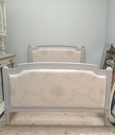 Beautiful very old French bed reupholstered in Kate Forman fabric / painted & distressed in Farrow & Ball 'Purbeck Stone' for client /  French furniture / Frenchfinds.co.uk