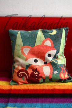 Cute Fox & Squirrel Pillow Cover Fox by TaikalandiaShop on Etsy
