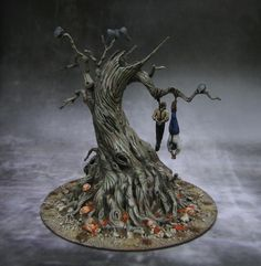 Great Hangman tree with crows or ravens in a fall theme with fantastic roots
