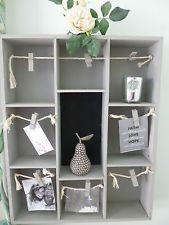 Vintage Style Wall Unit Shelf Display Memo Chalk Storage Cupboard Shabby  Chic