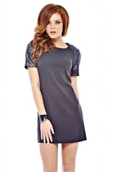 AX Paris Womens Black Wetlook Sleeve Smock Dress Glamorous Stylish Fashion