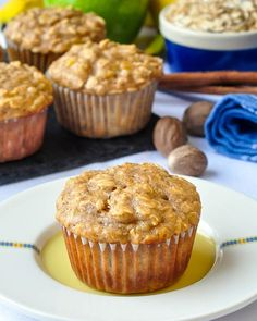 Oatmeal Apple Banana Low Fat Muffins. High in fiber too!