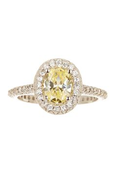 canary & white diamond oval ring