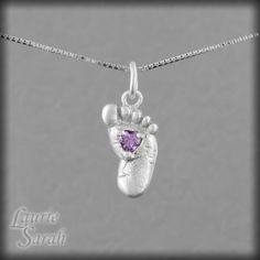 Amethyst Baby Foot Necklace - February Birthstone