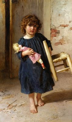 Charming study of a child with her doll, by Artist: Ludwig Johann Passini (Austrian, 1832-1903)