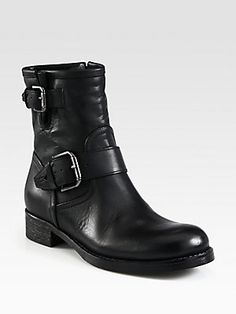 Alberto Fermani Leather Buckle Motorcycle Boots