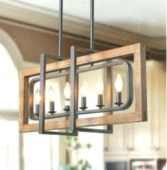 LNC Island Lights Distressed Wood and Matte Black Metal Finish Chandelier - Farmhouse Dining Room Table, Farmhouse Kitchen Island, Rustic Kitchen Cabinets, Modern Farmhouse Kitchens, Kitchen Decor, Kitchen Ideas, Kitchen Islands, Dining Rooms, Kitchen Rustic